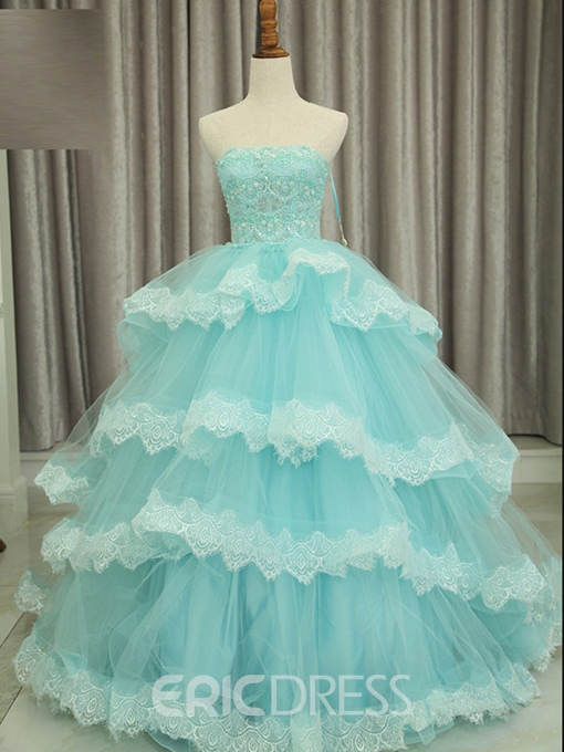 Ericdress Strapless Ball Gown Quinceanera Dress With Beadings