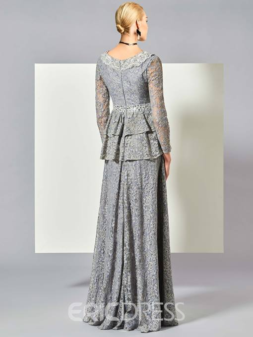 Ericdress Vintage A Line Long Sleeve V Neck Lace Evening Dress