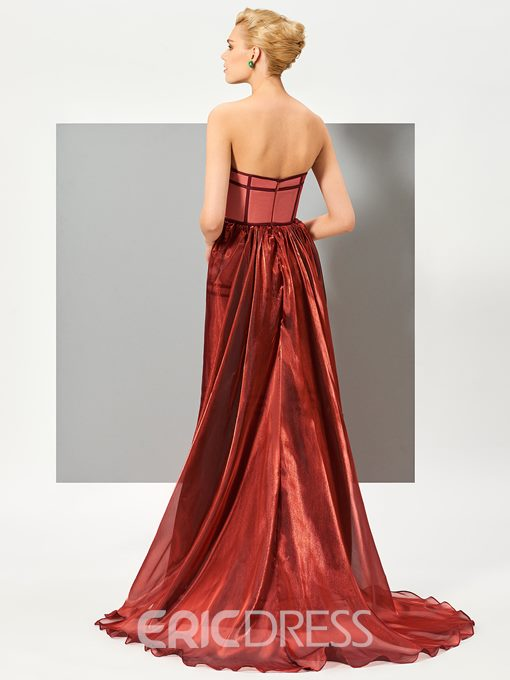 Ericdress Stylish A Line Strapless Applique Floor Length Evening Dress With Train
