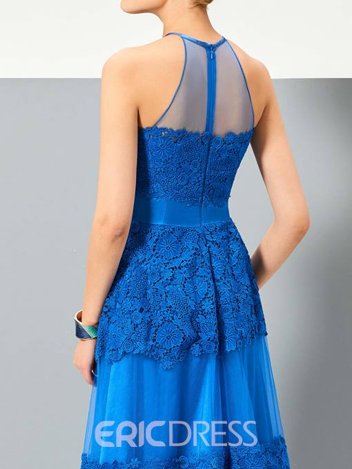 Ericdress Elegant Jewel A-Line Appliques Lace Sleeveless Floor-Length Evening Dress