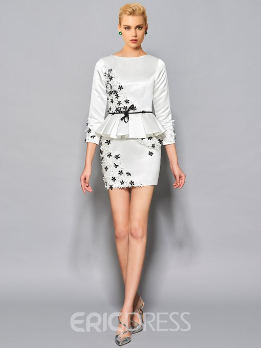 Eridress Short/Mini 3/4 Sleeve Flower Applique Cocktail Dress