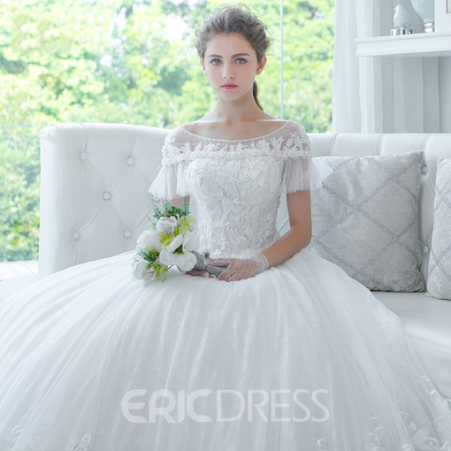 Ericdress Charming Scoop Appliques Short Sleeves Ball Gown Wedding Dress