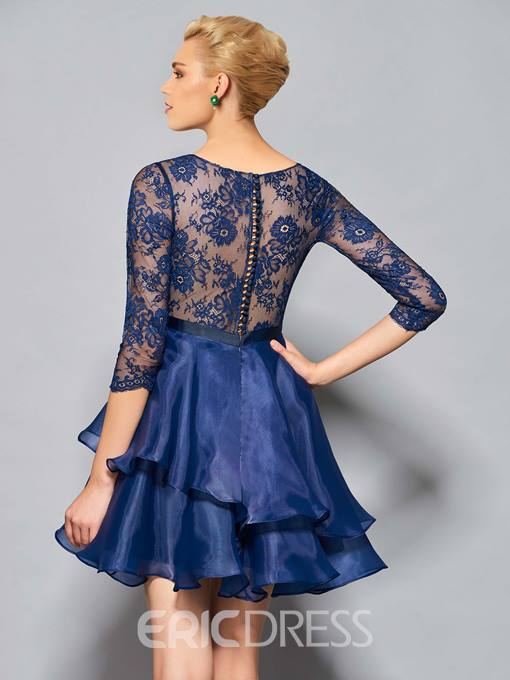 Ericdress Short A Line 3/4 Sleeve Lace Organza Button Back Cocktail Dress