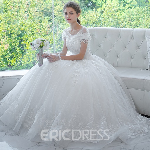 Ericdress Beaded Lace Short Sleeves Ball Gown Wedding Dress