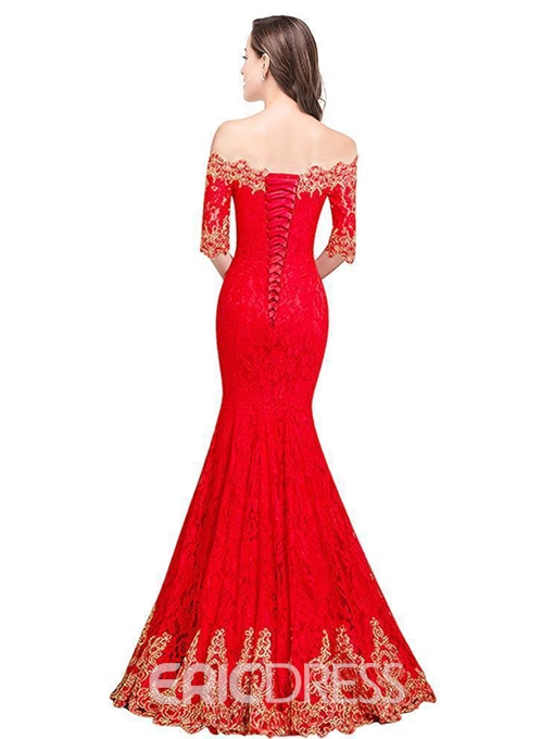 Ericdress Mermaid Off-The-Shoulder Lace Evening Dress