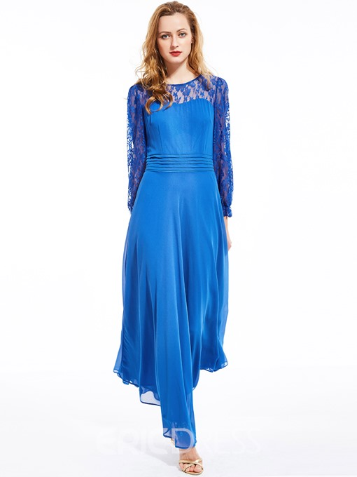 Ericdress Lace Patchwork Long Sleeve Expansion Maxi Dress