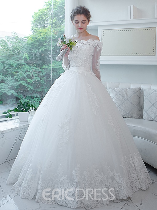 Ericdress Appliques Beaded Ball Gown Wedding Dress With Sleeves