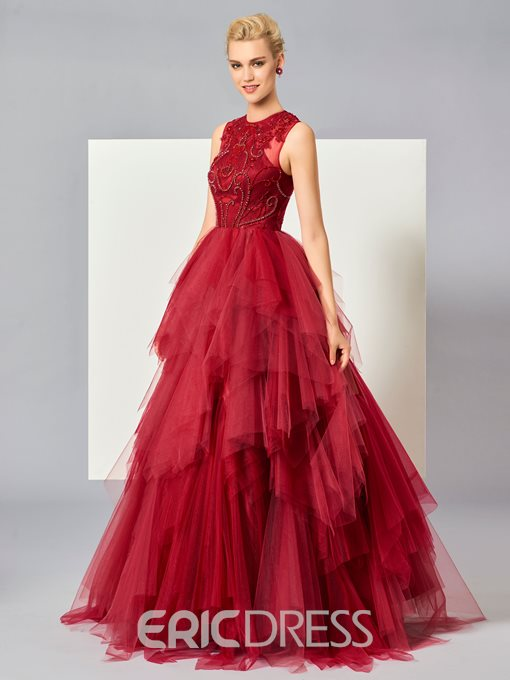 Ericdress Ball Gown Scoop Neck Beaded Layers Tulle Evening Dress