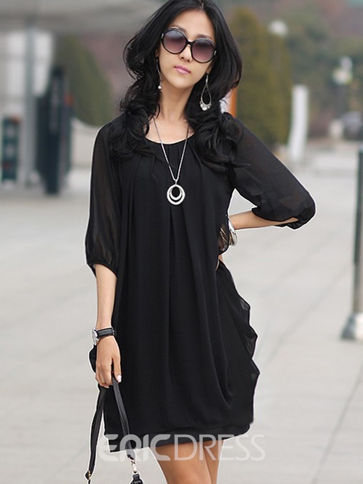 Ericdress Plain Bud Round Neck Casual Dress