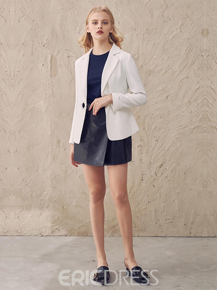 Ericdress Solid Color Lace-Up Blazer