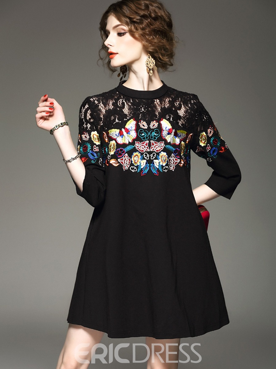 Ericdress Floral Embroidery Lace A-Line Dress
