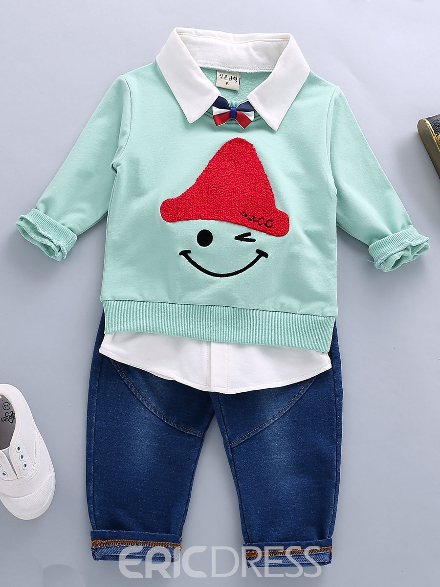 Ericdress Cartoon Lapel Long Sleeve T-Shirt Jeans Baby Boys Outfit