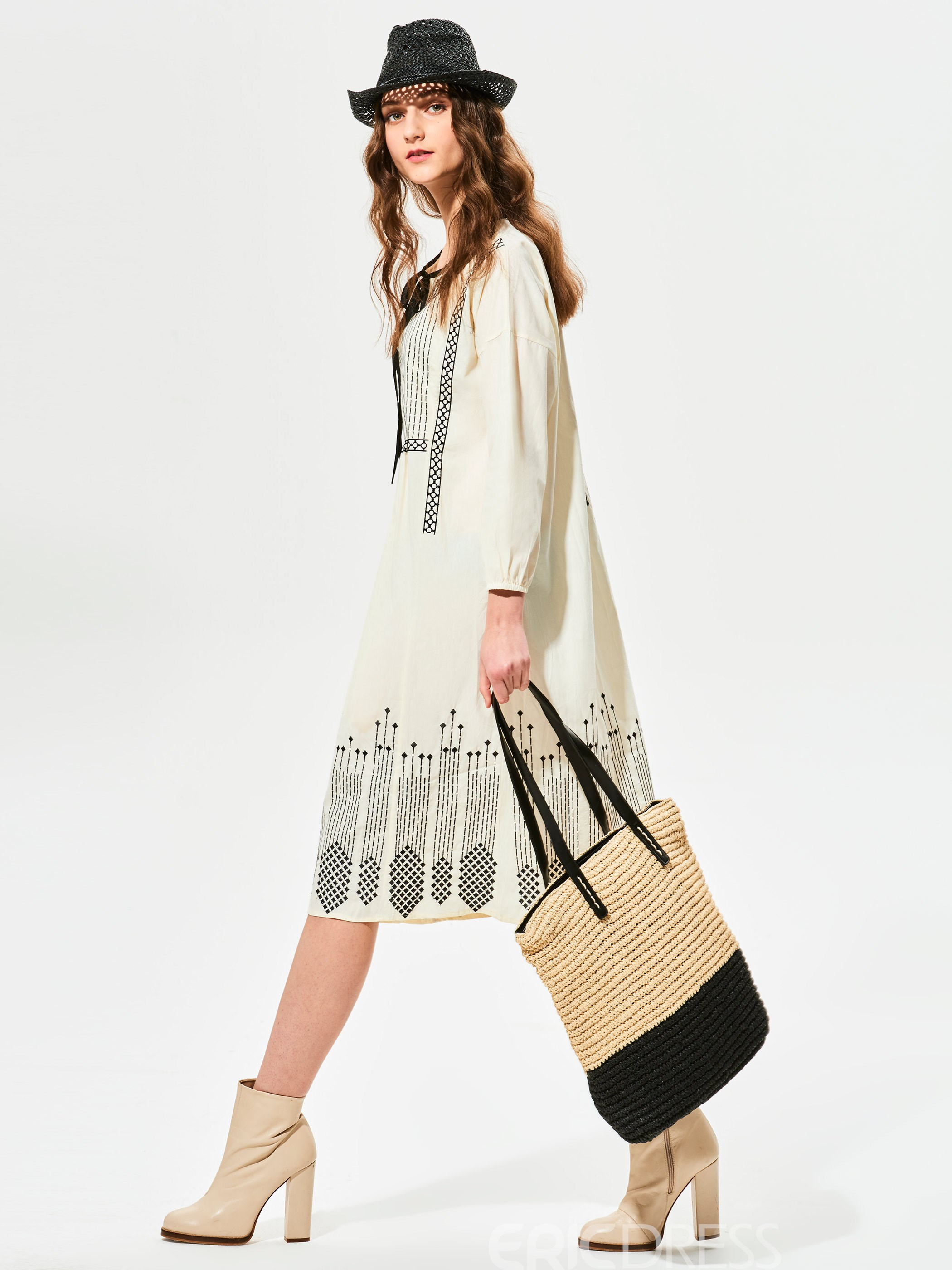 Ericdress Round Neck Lantern Sleeves Casual Dress