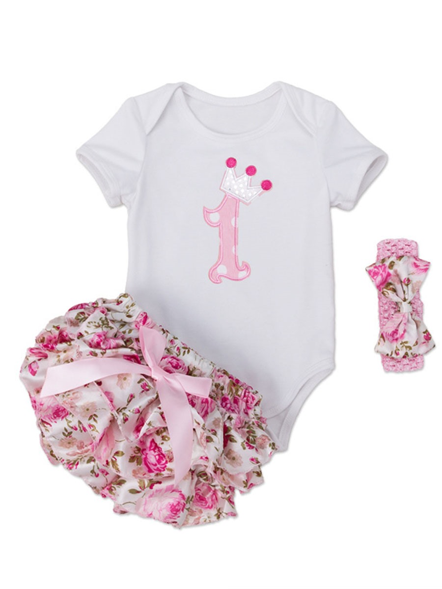 Ericdress Romper Floral Shorts with headband 3-Pcs Baby Girls Outfit