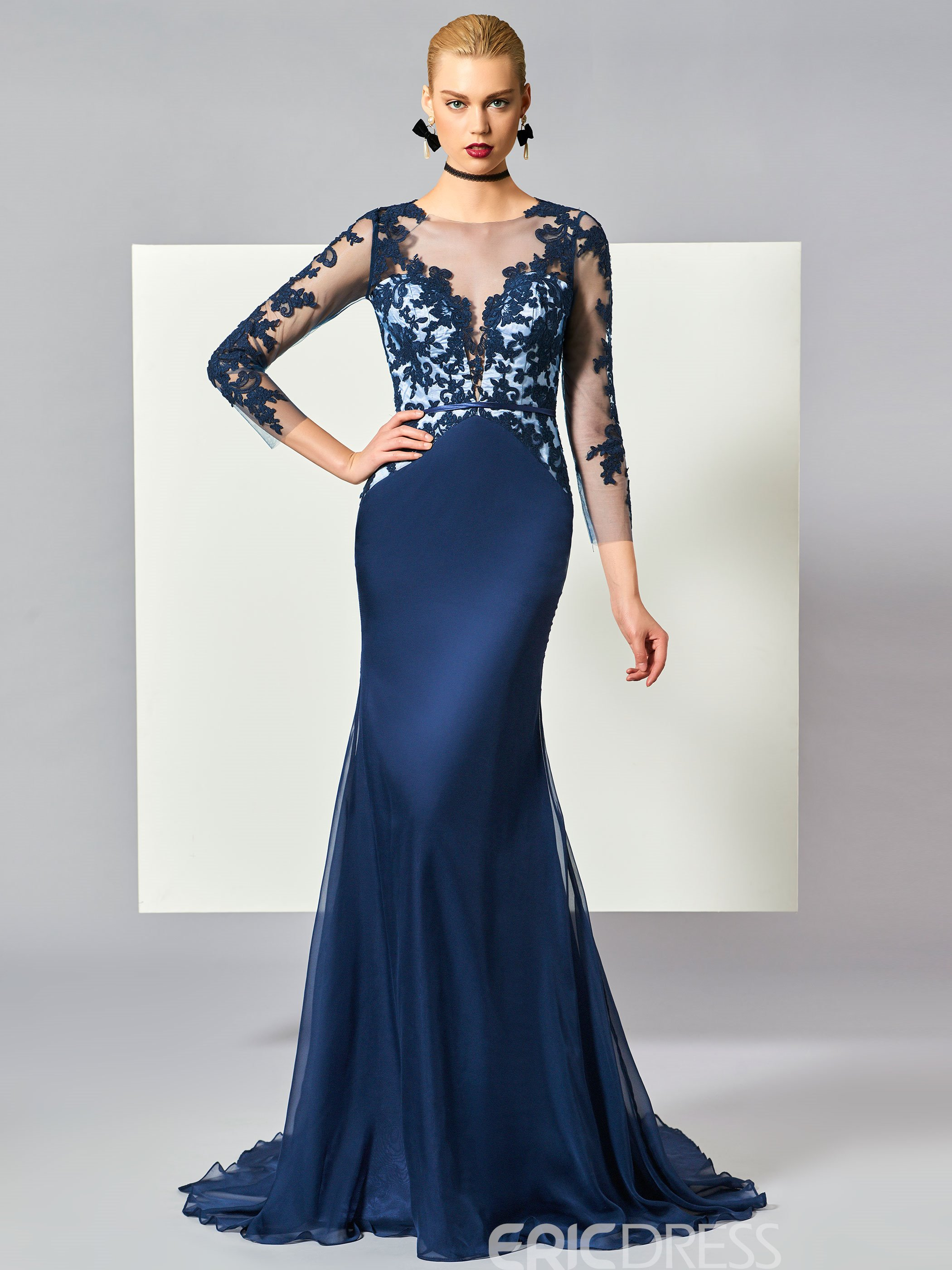 Ericdress Scoop Neck 3/4 Sleeve Lace Applique Mermaid Evening Dress With Sweep Train