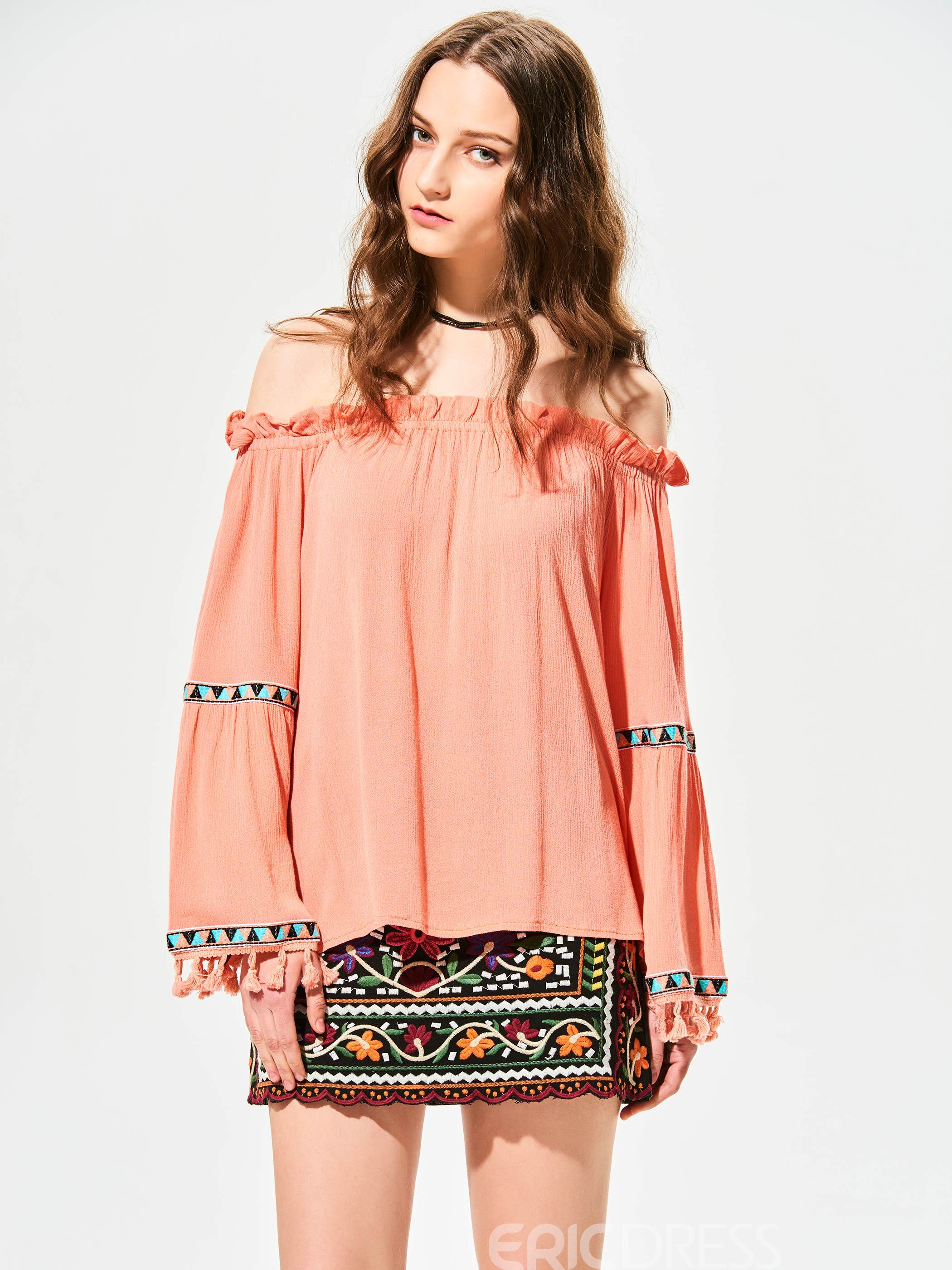 Ericdress Slash Neck Tassel Patchwork Blouse