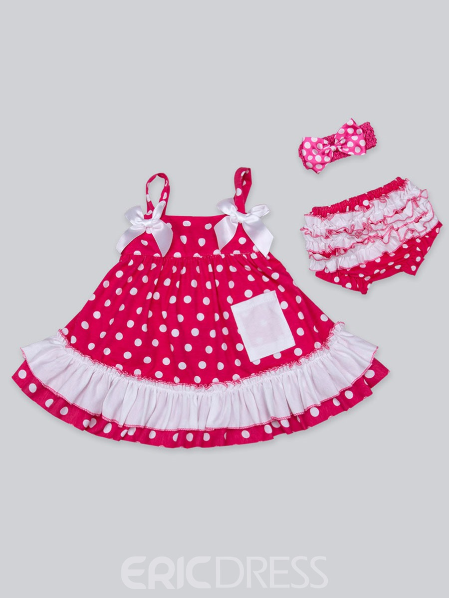 Ericdress Polka Dots Dress Underwear Headband 3-Pcs Baby Girls Outfit