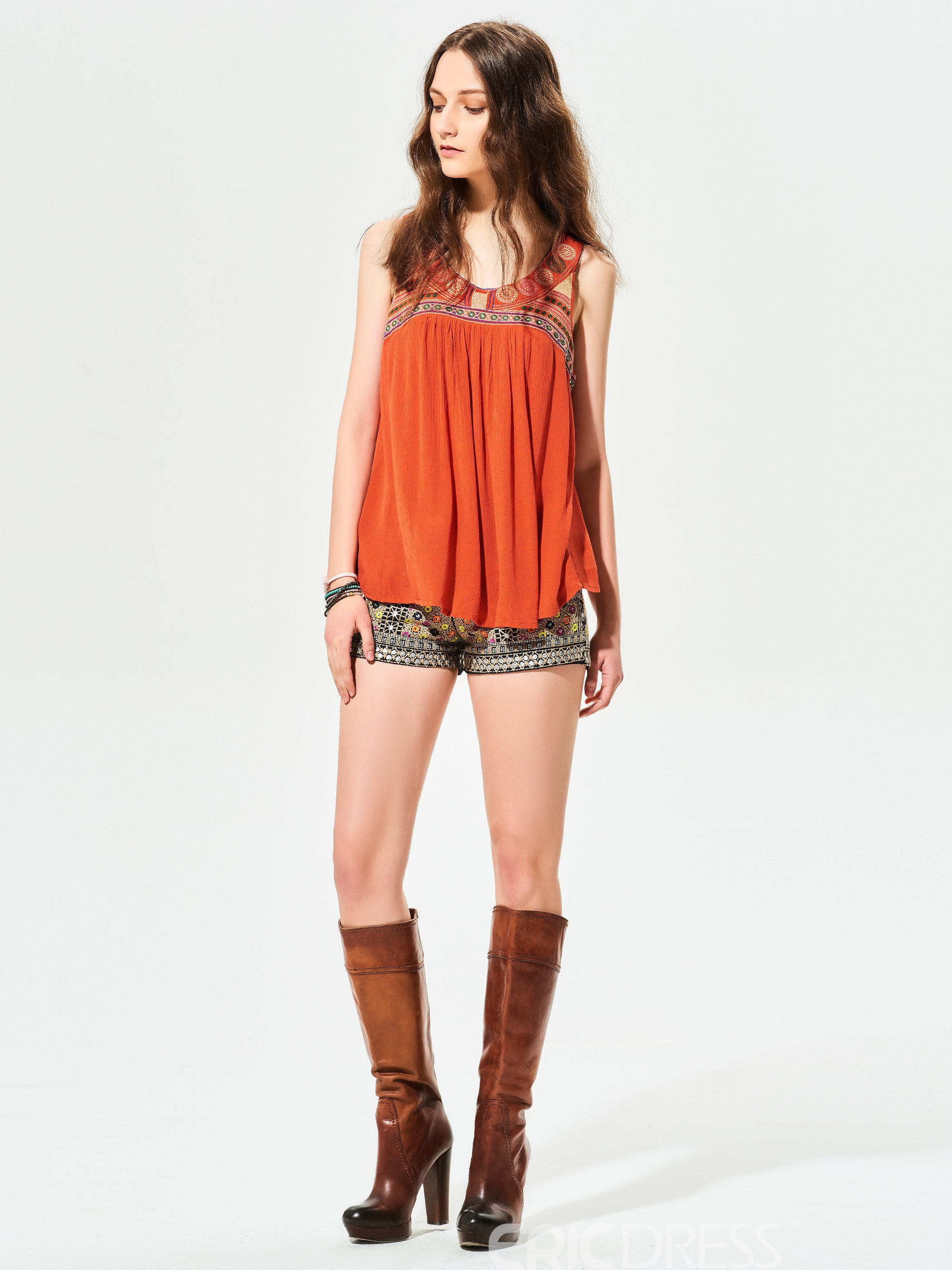 Ericdress Geometric Pattern Embroidery Backless Tank Top