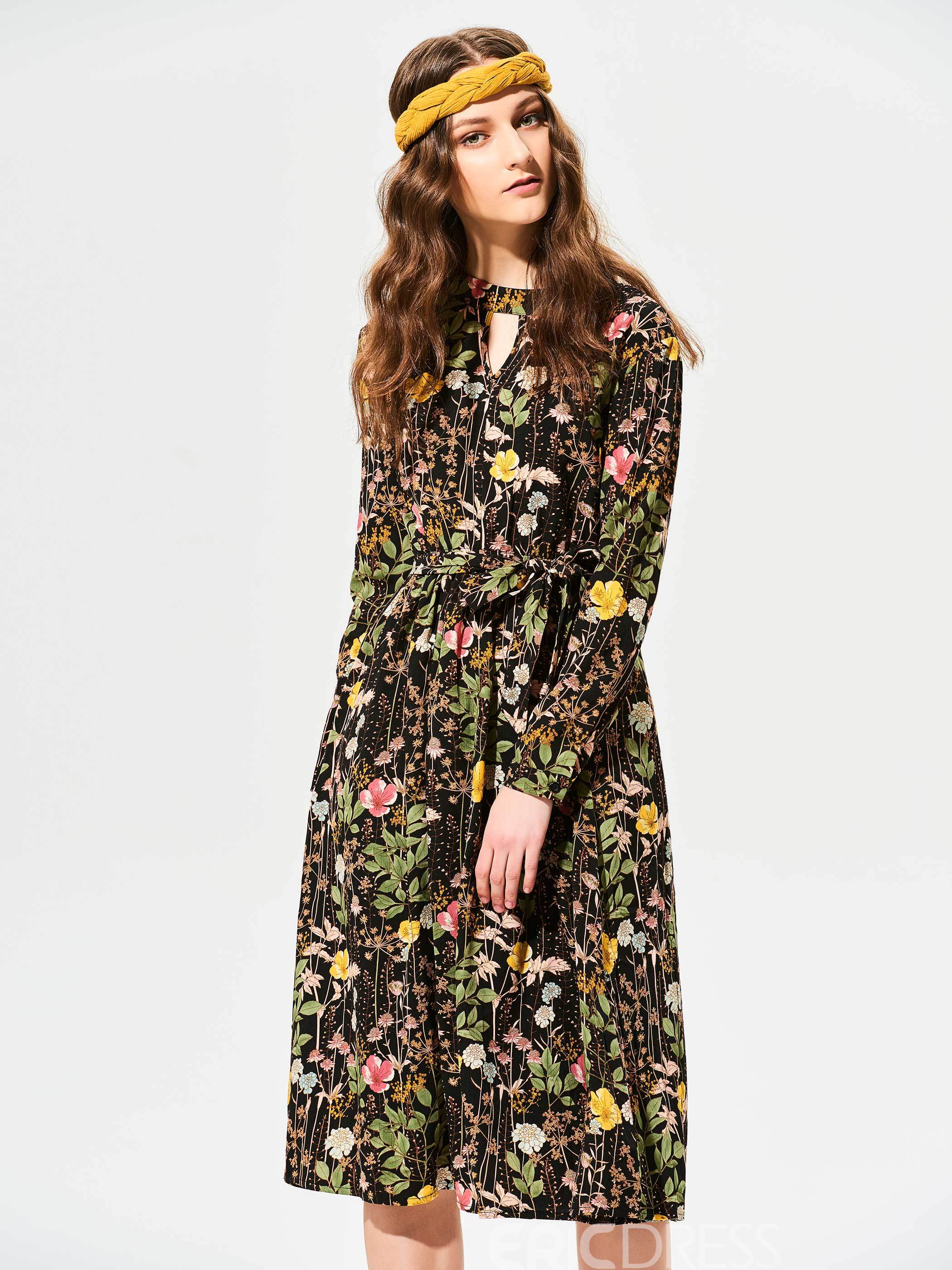 Ericdress Stand Collar Color Block Flower Print A Line Dress