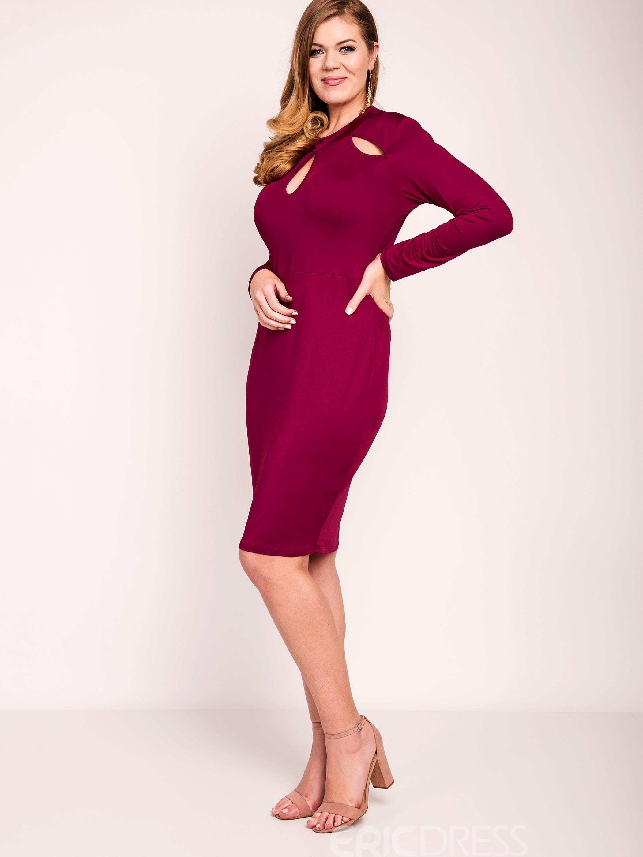 Ericdress Plain Hollow Long Sleeves Bodycon Dress