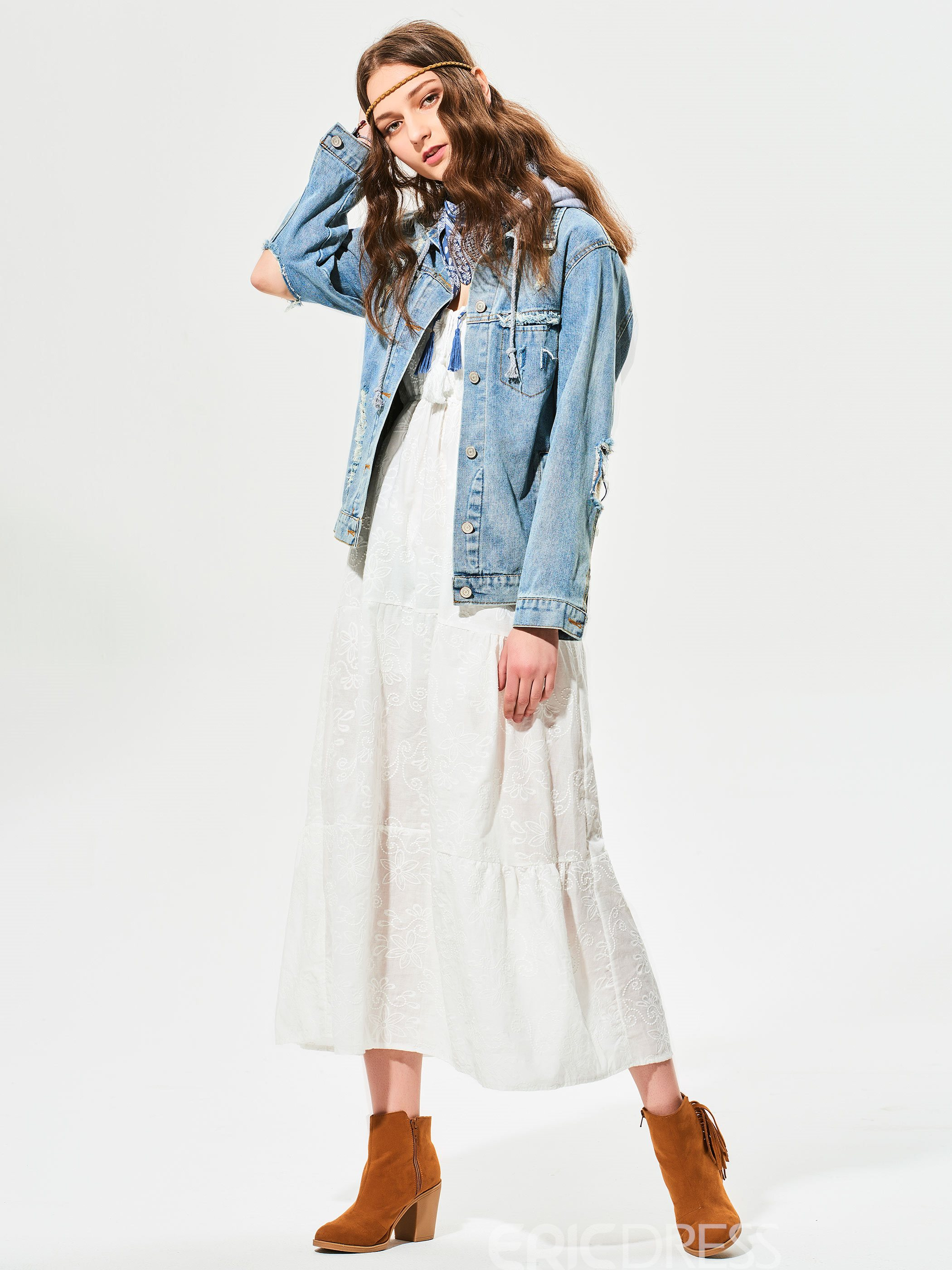 Ericdress Plain Embroideried Hooded Denim Outerwear