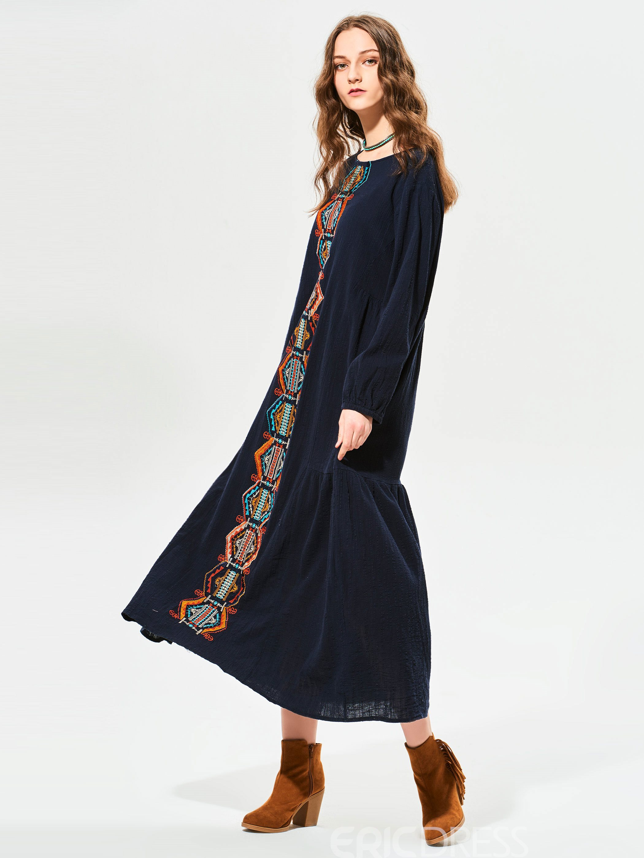 Ericdress Geometric Pattern Embroidery Patchwork Maxi Dress