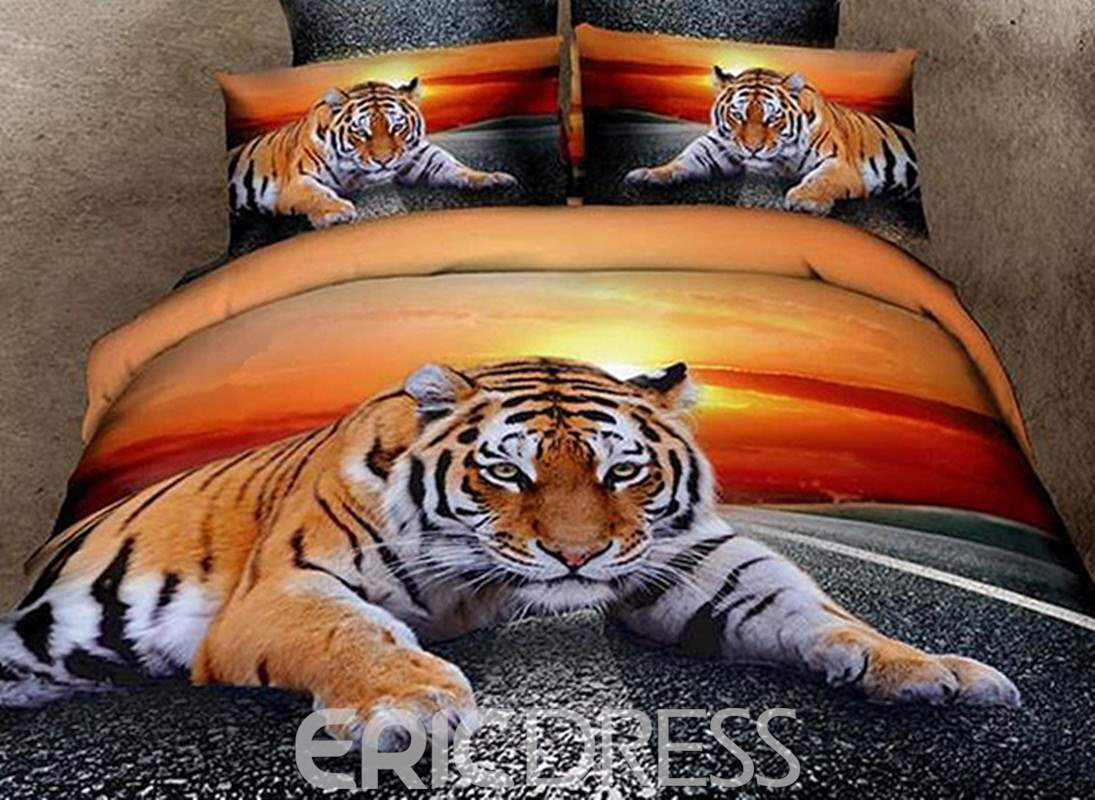 Vivilinen 3D Lying Tiger at Dusk Printed Cotton 4-Piece Bedding Sets/Duvet Covers