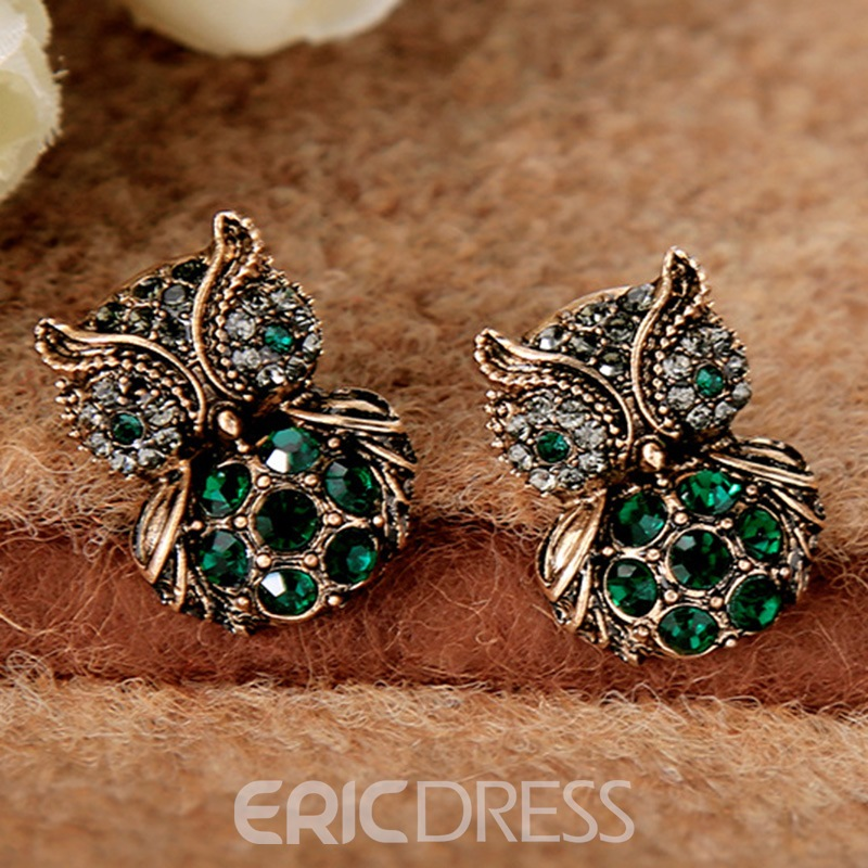 Ericdress Green Rhinestone Inlaid Owl Shaped Earrings