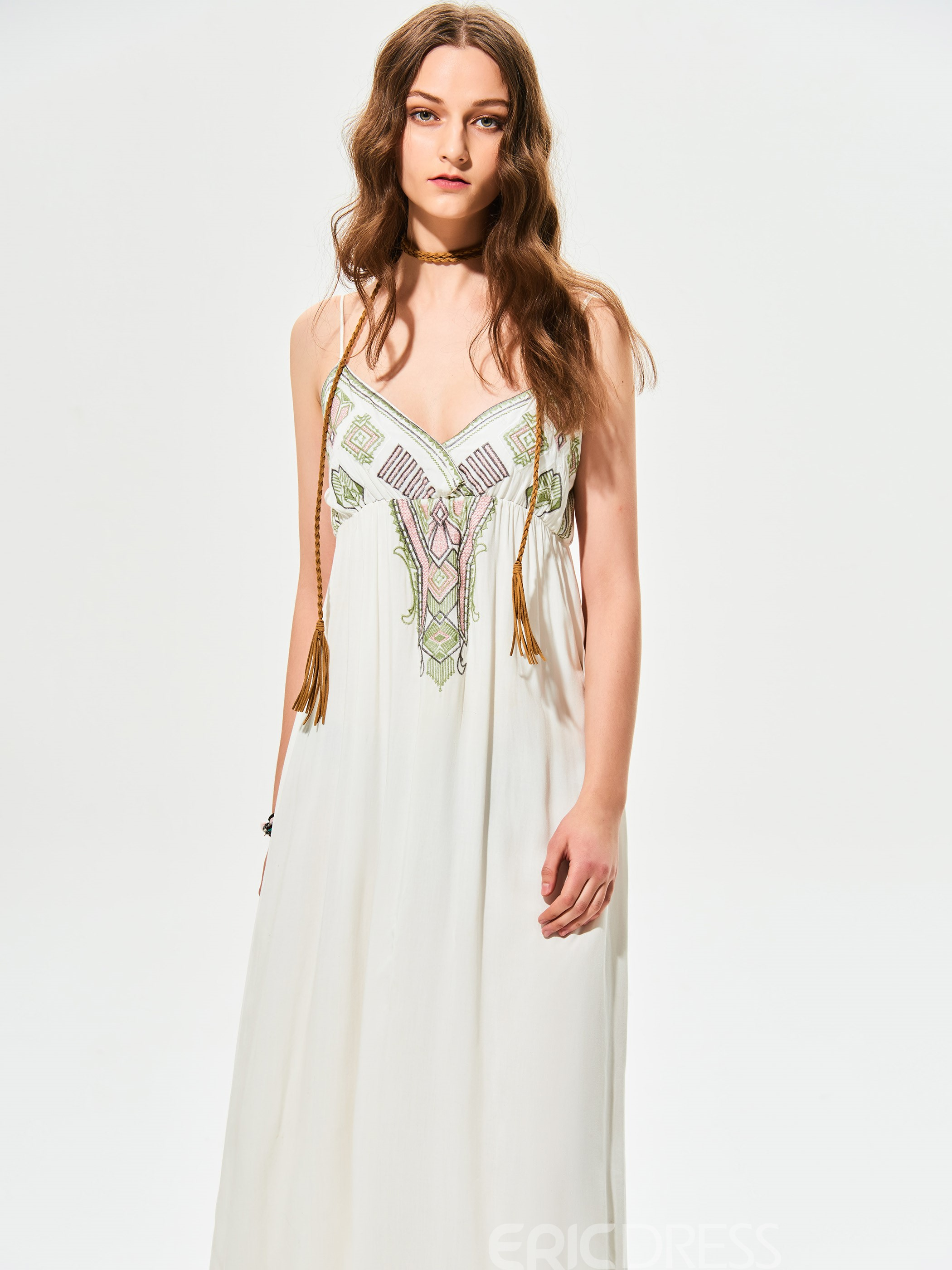 Ericdress V-Neck Geometric Pattern Embroidery Maxi Dress