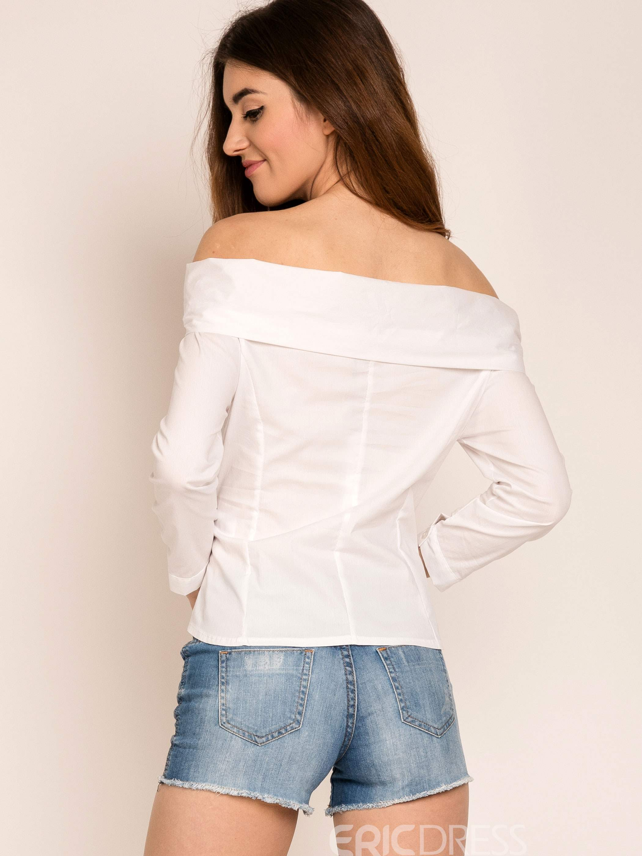 Ericdress White Slash Neck Bowknot Blouse