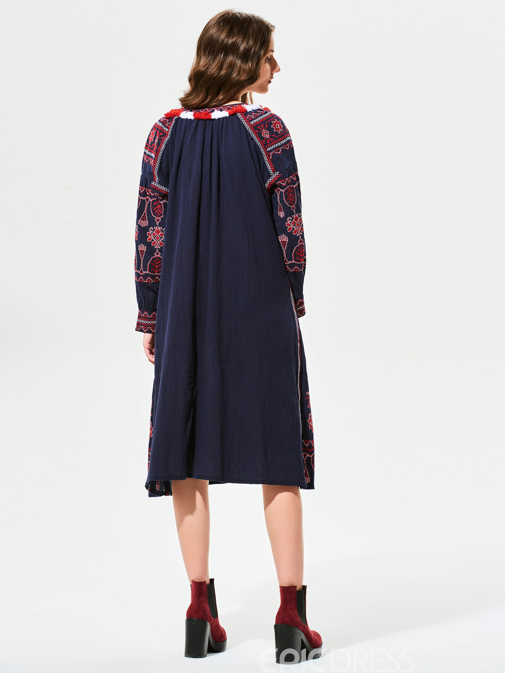 Ericdress Geometric Pattern Embroidery Belt Casual Dress