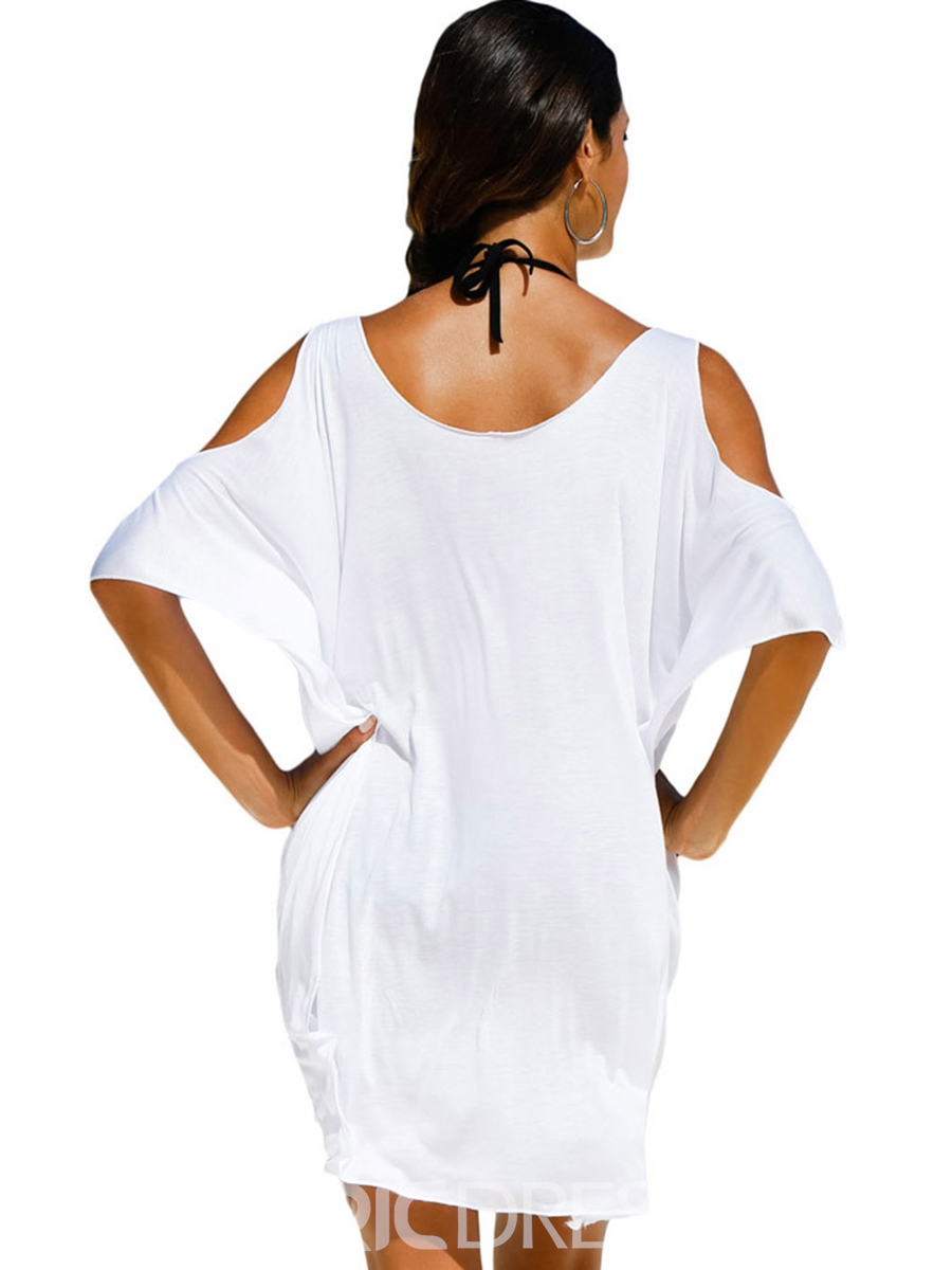 Ericdress Plain Letter Short Sleeve Beach Cover Ups