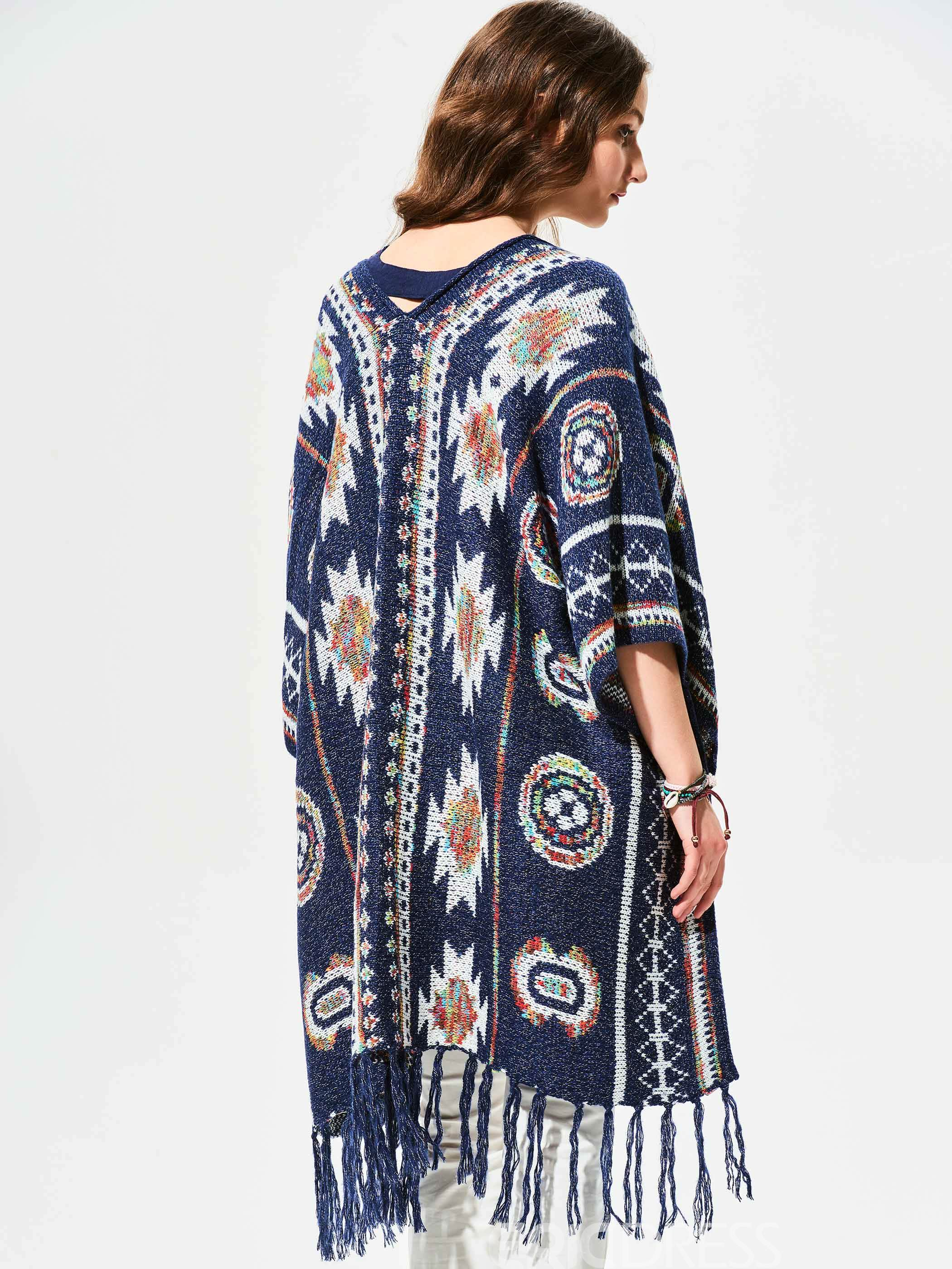 Ericdress Geometric Pattern Tassel Cape