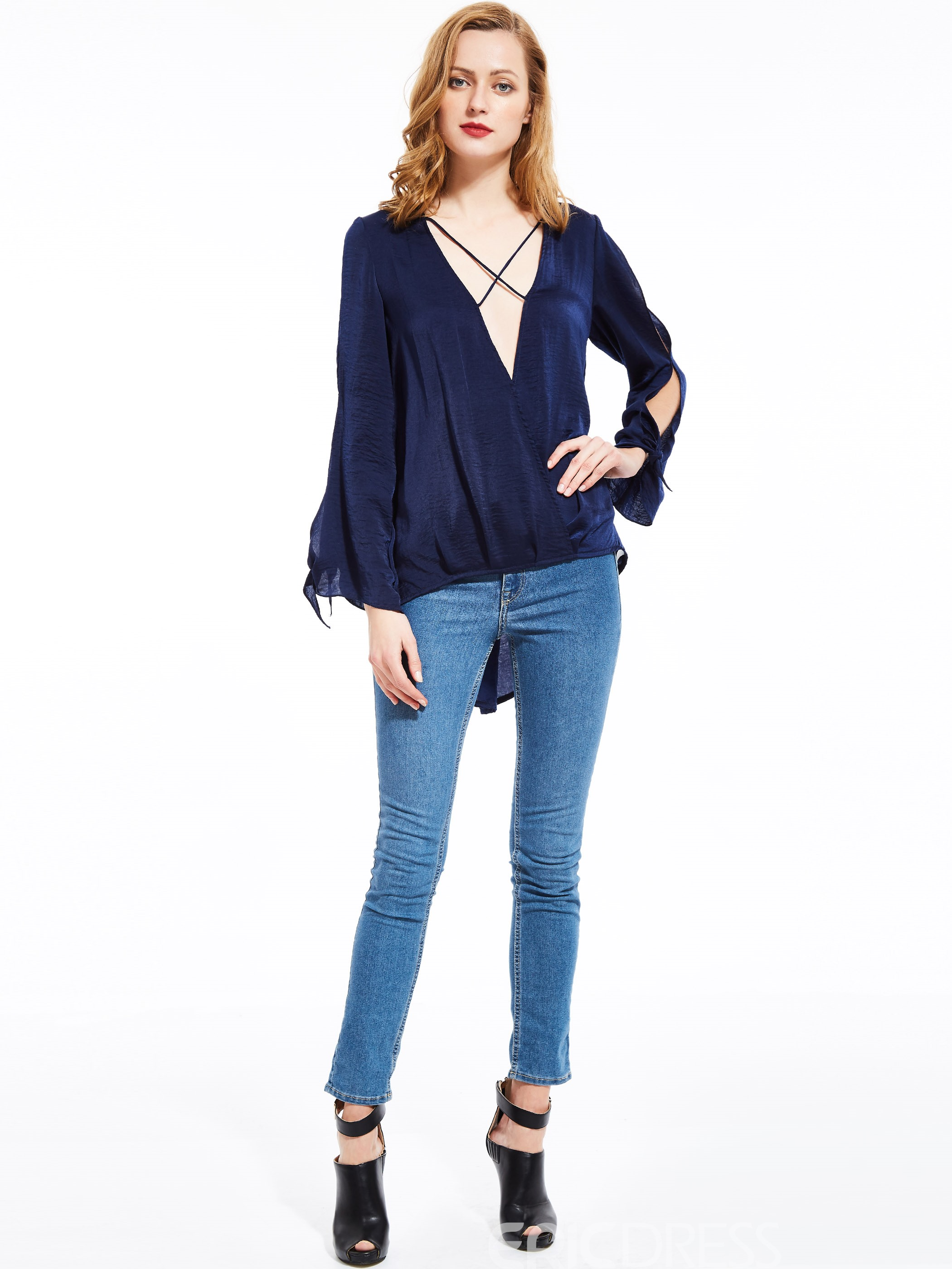 Ericdress Solid Color Loose V-Neck Blouse