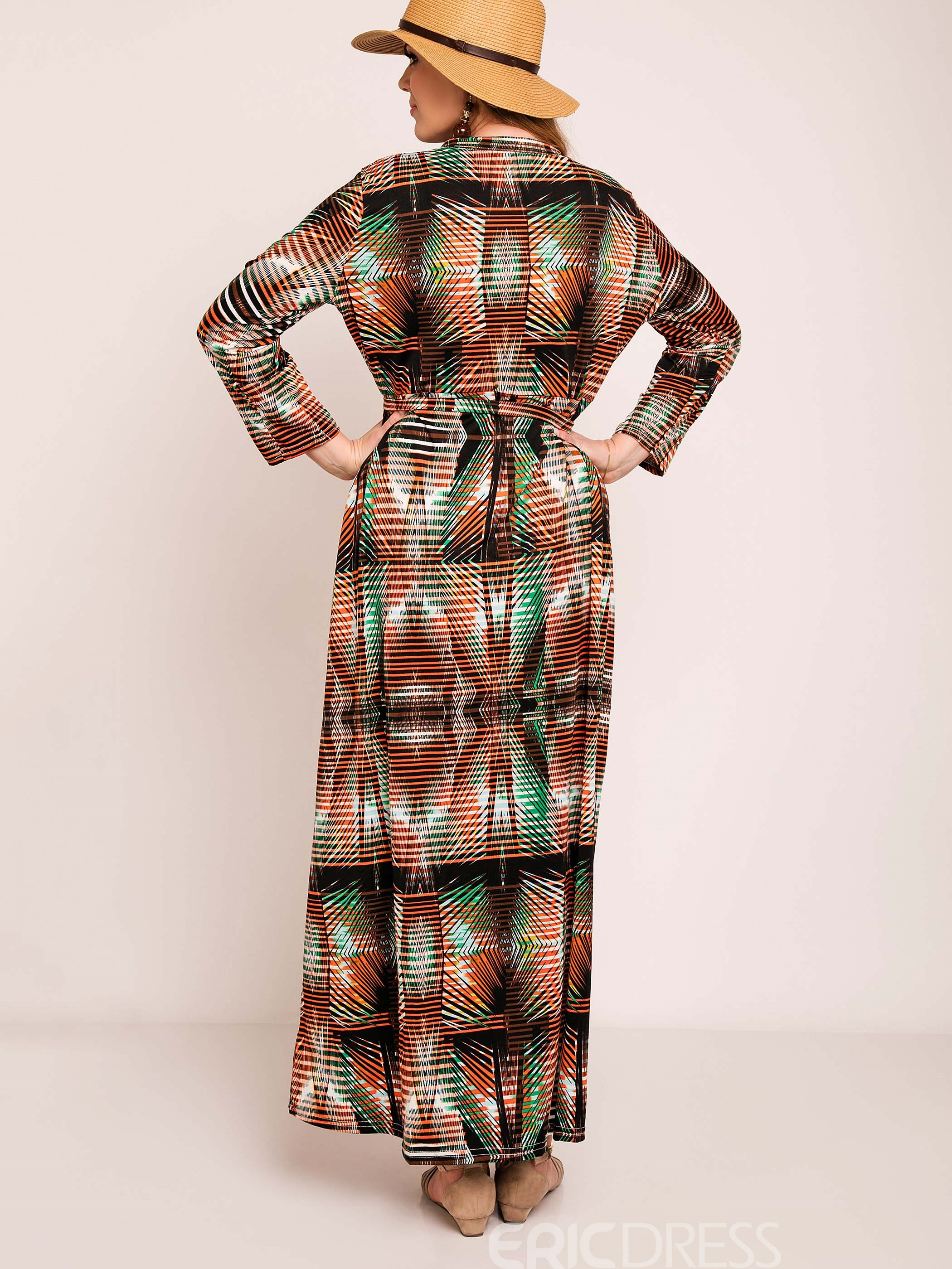 Ericdress Spring Geometric Print Belt Plus Size Maxi Dress