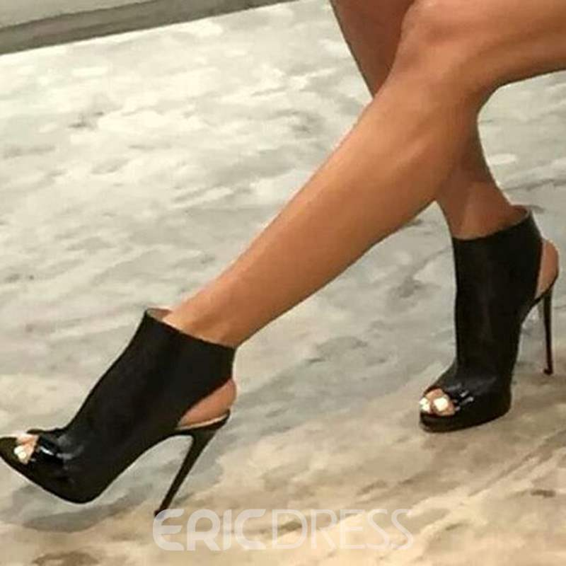 Ericdress Cool Black Peep Toe Backless Stiletto Sandals