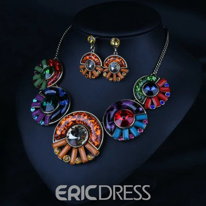 Ericdress Colored Round Gemstones Inlaid Party Jewelry Set