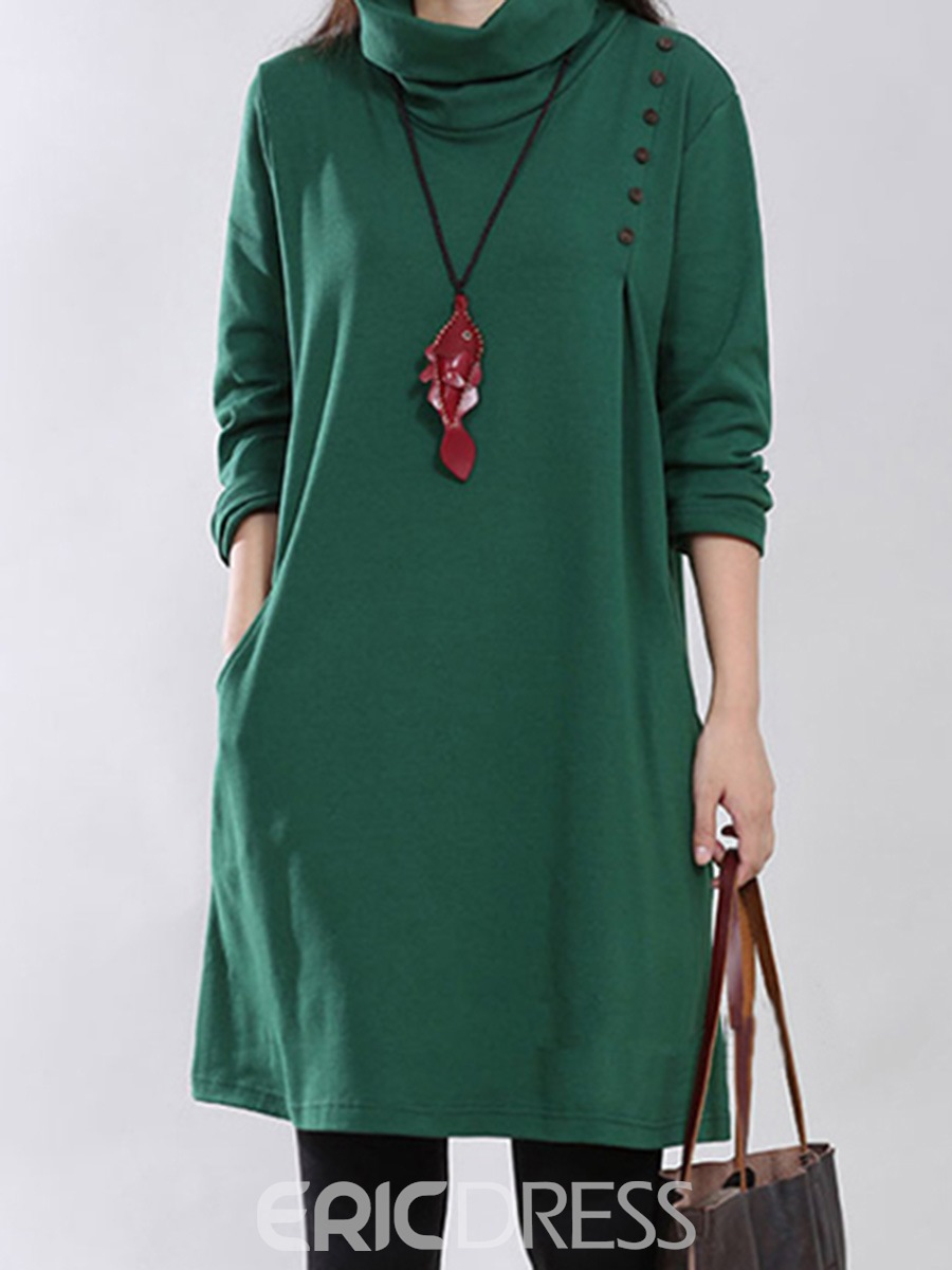 Ericdress Plain Turtleneck Long Sleeve Dress