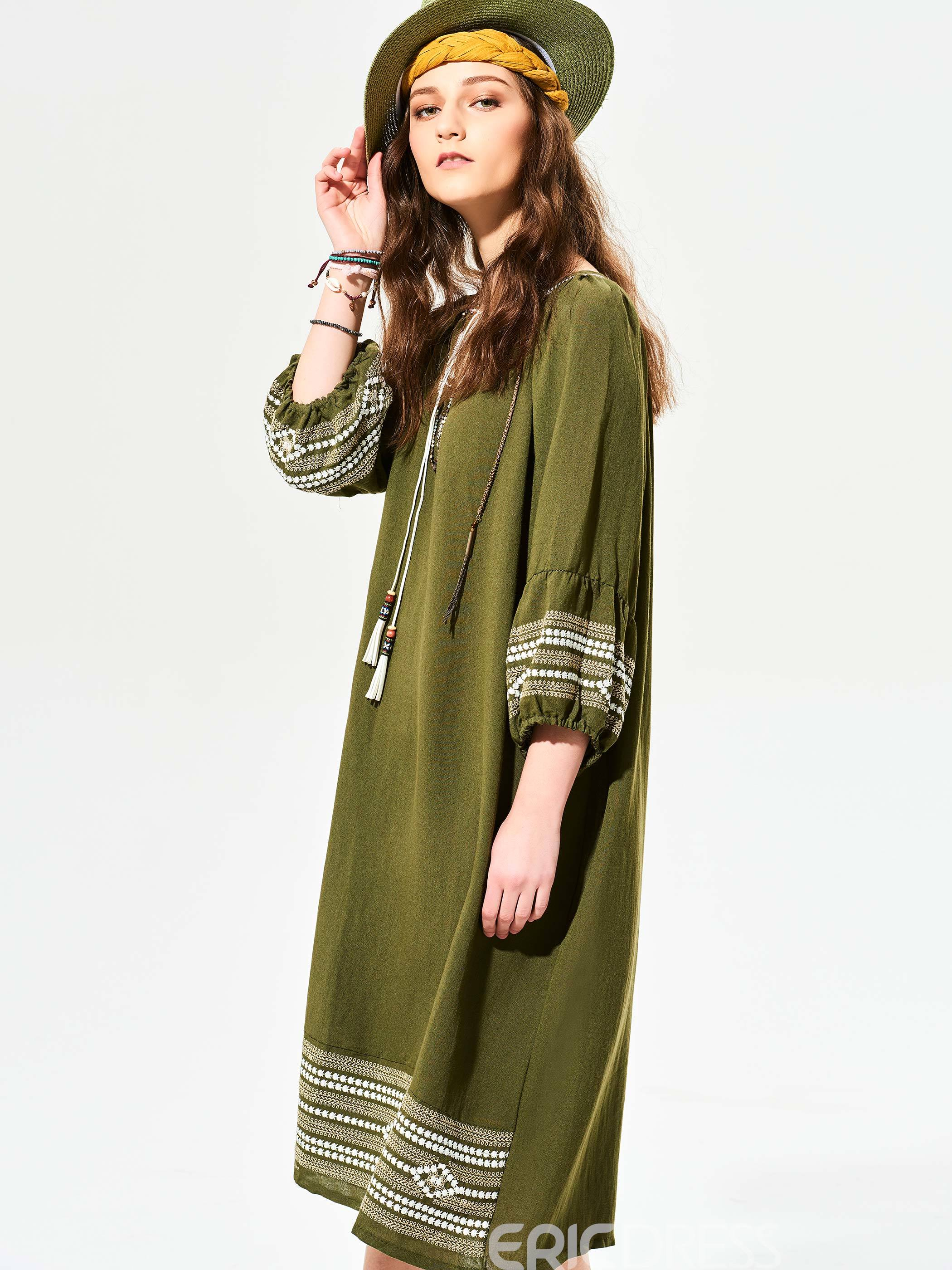 Ericdress Geometric Pattern Embroidery Maxi Dress