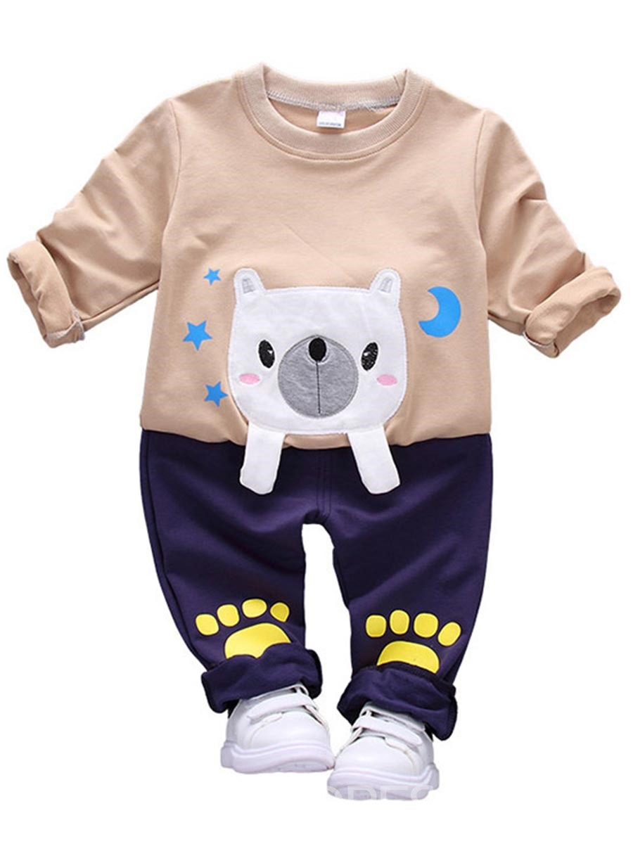 Ericdress Dog Pattern Long Sleeve Baby Boys Outfit