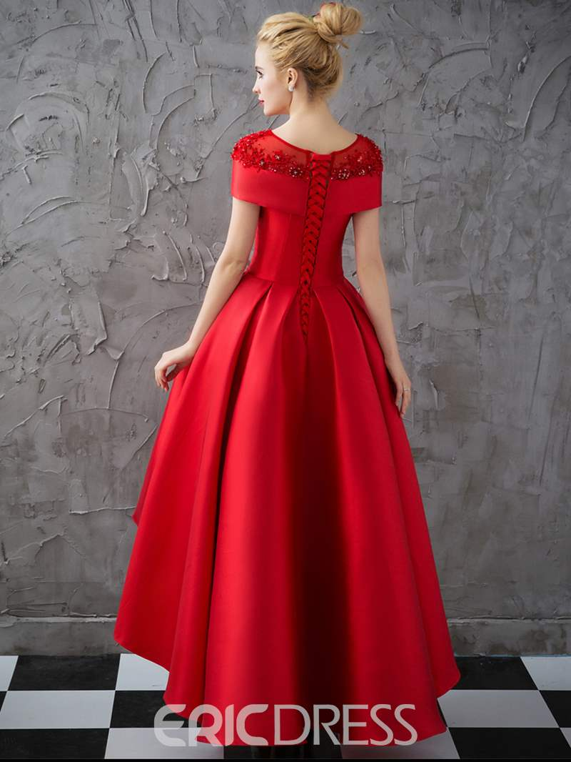 Ericdress Vintage Cap Sleeves Asymmetry Evening Dress With Crystal Beadings