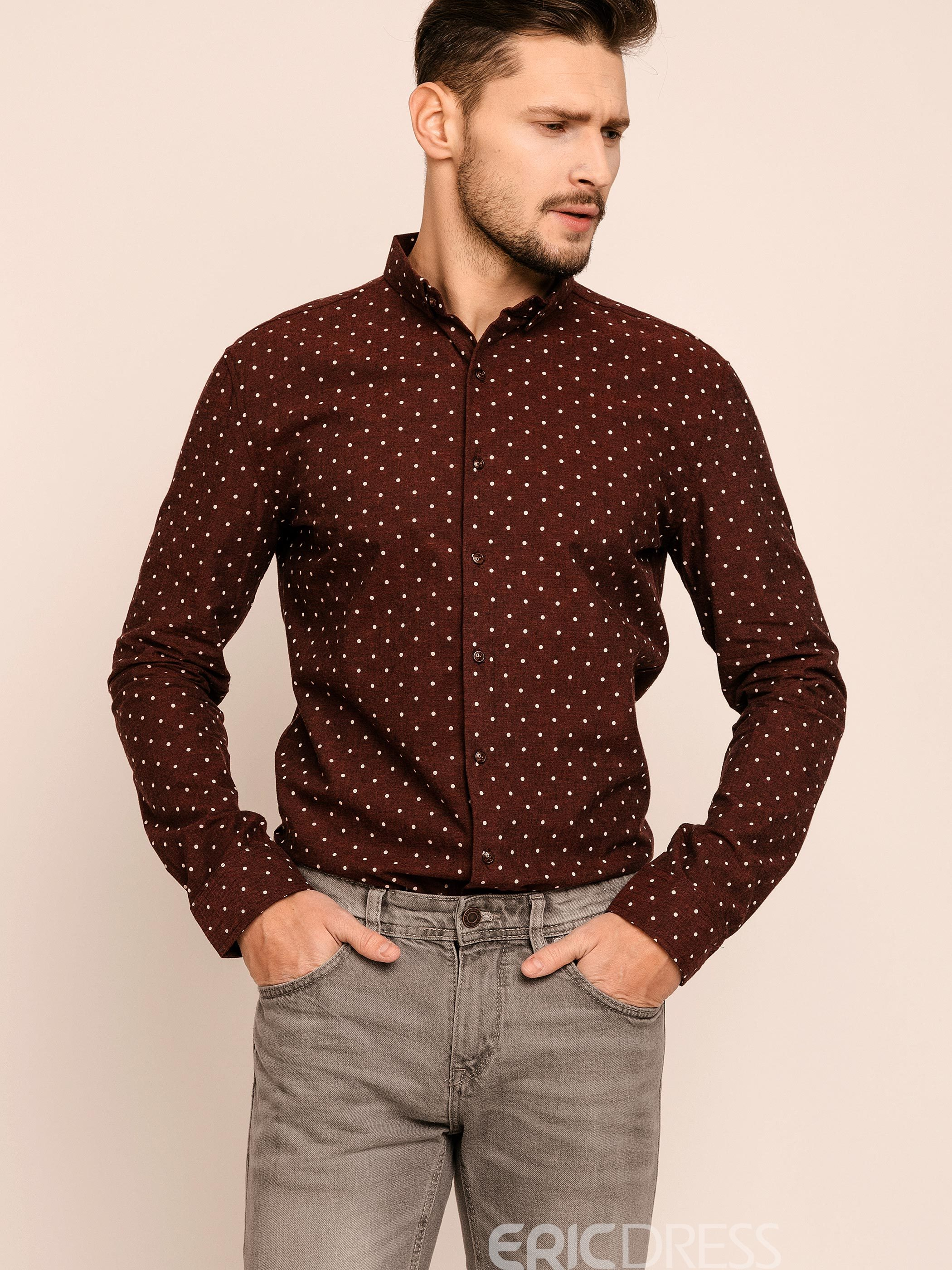43718fb17f1 Ericdress Lapel Polka Dots Long Sleeve slim Men s Shirt 12746569 ...