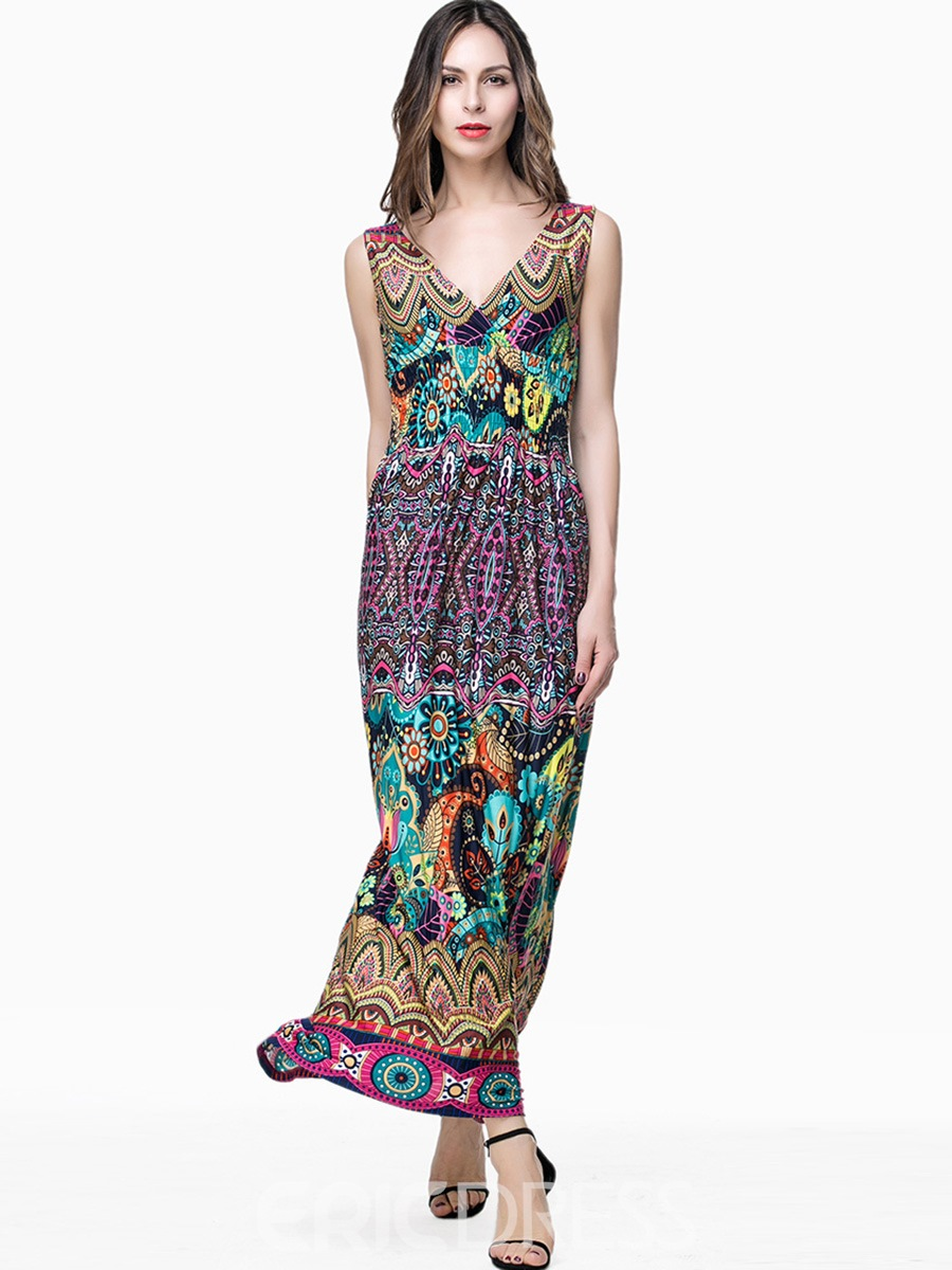 Ericdress Contrast Color Print V-Neck Maxi Dress