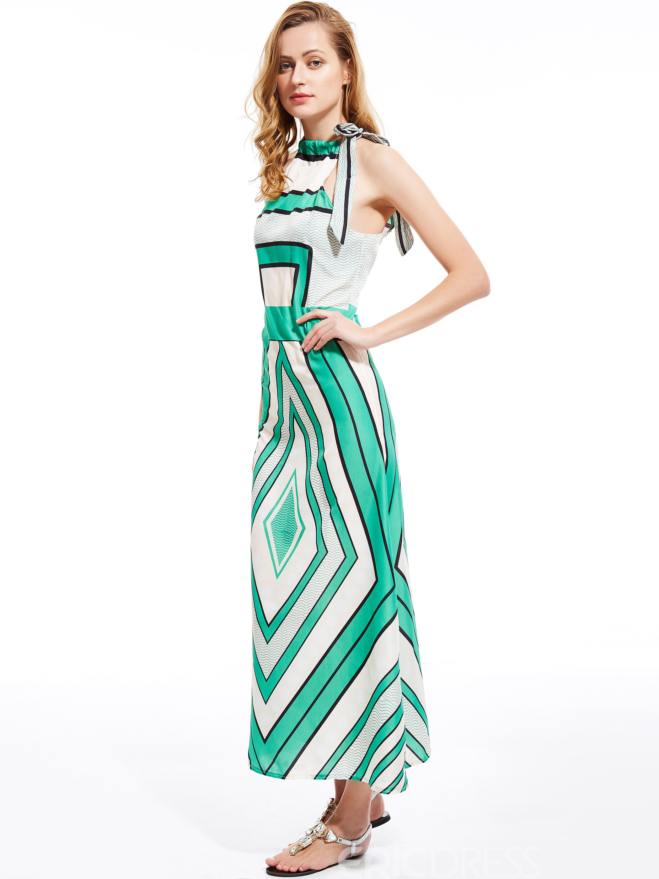 Ericdress Stripe Lace-Up Maxi Dress