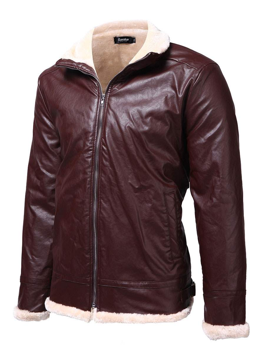 Ericdress Thicken Flocking Zip PU Men's Warm Jacket