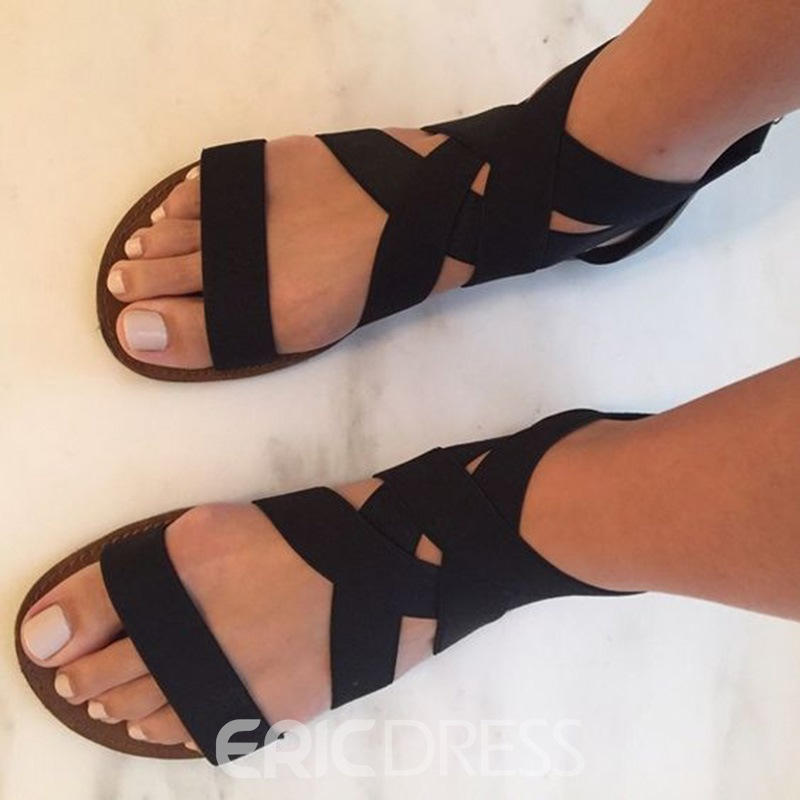 Ericdress Pretty Cross Band Open Toe Flat Sandals