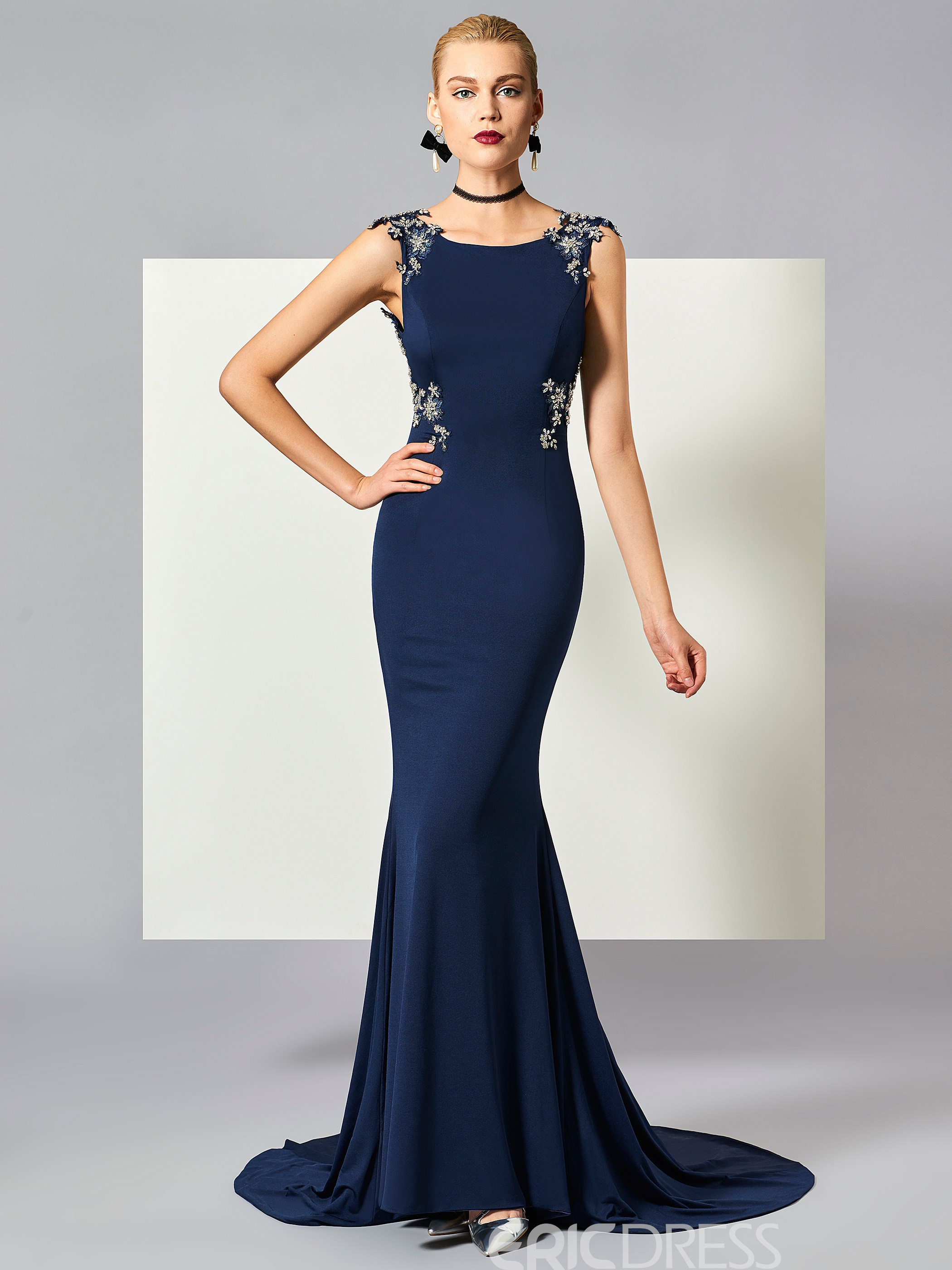 9a9af5c50fbd Ericdress Beaded Backless Long Mermaid Evening Dress