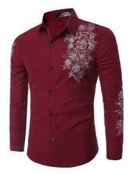 Ericdress Classic Flower Print Long Sleeve Mens Shirt