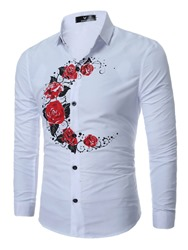 Ericdress Flower Print Simple Casual Mens Shirt