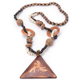 Ericdress Wooden Triangle Pendant Long Beading Necklace